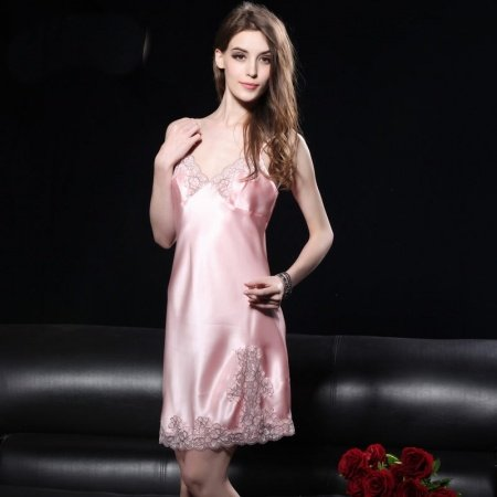 Pastel Pink 19mm 100% Nature Silk 1 Piece Sling Dress Noble Luxury Pajamas for Girly Women M L XL
