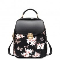 Fashion Black Patent Leather Feminine Lady Flap Travel Laptop Backpack Gorgeous Butterfly and Flower Print School Campus Book Bag