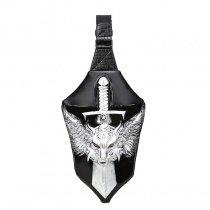 Vintage Black Leather Engraved Metallic Silver Dragon Boys Crossbody Shoulder Chest Bag Rock and Roll Sword-shaped Travel Sling Backpack