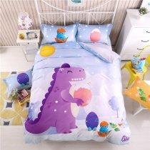 Girls Purple Blue and Orange Cretaceous Dinosaur Print Cartoon Themed Cute Style 100% Cotton Twin, Full Size Bedding Sets
