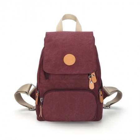 Durable Burgundy Red Canvas with Orange Leather Women Flap Travel Backpack Fashion Sewing Pattern Zipper Preppy School Campus Book Bag