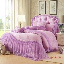 Romantic Purple Flower Print Vintage Victorian Lace Gathered Ruffle Sophisticated Elegant Feminine Jacquard Full, Queen Size Bedding Sets