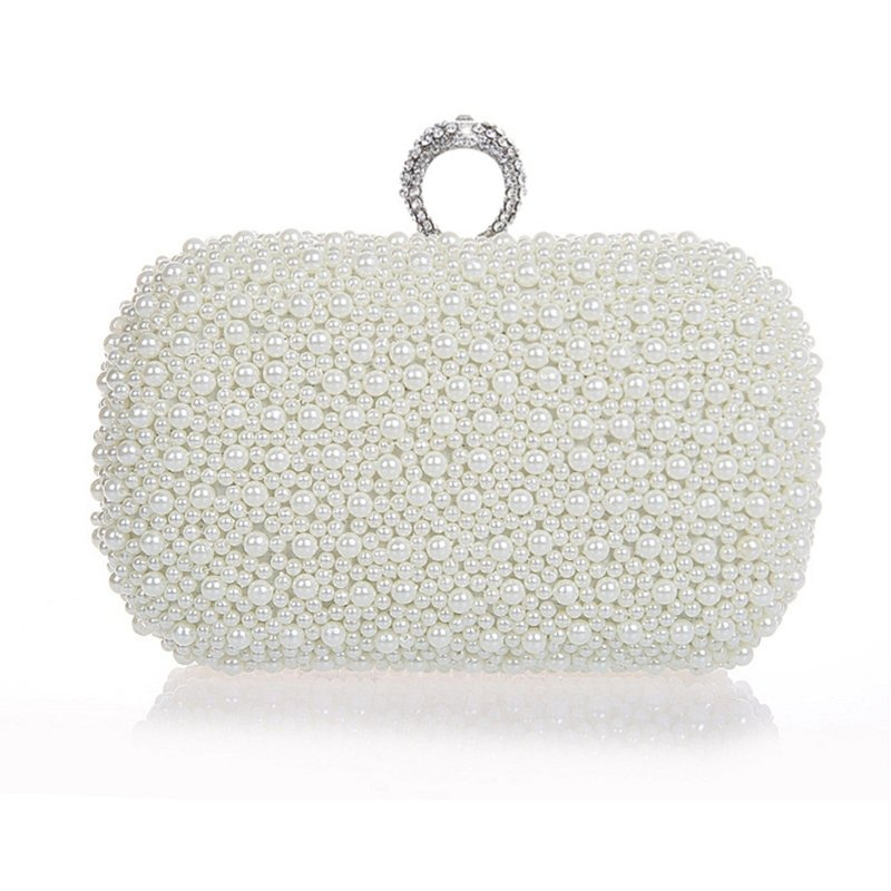 Vintage White Pearl Beaded Bling Rhinestone Women Small Evening Clutch Hipster Lock Closure Chain Crossbody Shoulder Bag