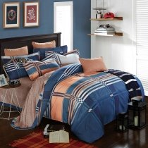 Trendy Sapphire Blue and Orange Rugged Plaid Print Traditional Noble Excellence 100% Brushed Cotton Full, Queen Size Bedding Sets