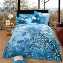 Cool Cobalt Blue Forest Scene Tree Branch Print Country Chic 100% Brushed Cotton Full, Queen Size Bedding Sets