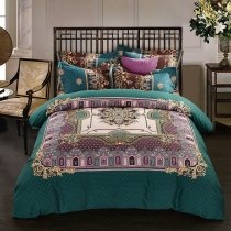 Dark Teal Gold and Purple Western Chic Indian Bohemian Pattern Royal Style 100% Brushed Cotton Full, Queen Size Bedding Sets