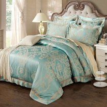 Fancy Tiffany Blue and Gold Glitter Gothic Pattern Vintage Victorian Style Jacquard Satin Full, Queen Size Bedding Sets