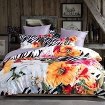 Black White Yellow Red Pink and Aqua Blue Tropical Hawaiian Hibiscus Flower and Zebra Stripe Print Full, Queen Size Bedding Sets