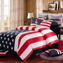 American Flag Print Patriotic Style Soft Flannel Twin, Full, Queen Size Bedding Sets
