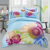 Purple and Blue Sunflower Print Elegant and Fancy Full, Queen Size Bedding Sets