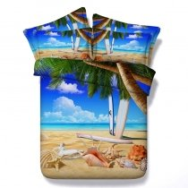 Bright Colored Beach Themed Tropical Hawaiian Style 3D Design Twin, Full, Queen, King Size Bedding Sets