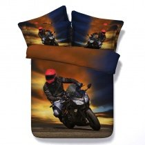 Brown Black and Sunset Orange Motorcycle Racing Shabby Chic Hipster Twin, Full, Queen, King Size Bedding Sets