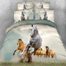 Brown Green Grey and White Wild Horse Print Jungle Animal Themed 3D Design Twin, Full, Queen, King Size Bedding Sets