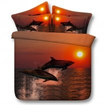Beautiful Orange and Black Ocean Themed Dolphin Print Sunset Scene 3D Design Twin, Full, Queen, King Size Bedding Sets
