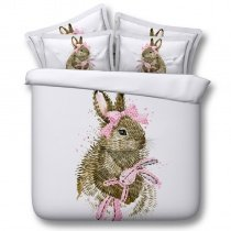 Cute Brown Pink and White Bunny with Bow Print Funky Style Modern Chic Preppy Twin, Full, Queen, King Size Bedding Sets