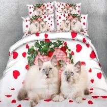 Green Red and White Cute Cat Print Love Heart Shaped Funky Animal Style Twin, Full, Queen, King Size Bedding Sets for Kids