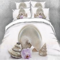 Kids Pearl White Beautiful Seashell Print 3D Design Unique Twin, Full, Queen, King Size Bedding Sets
