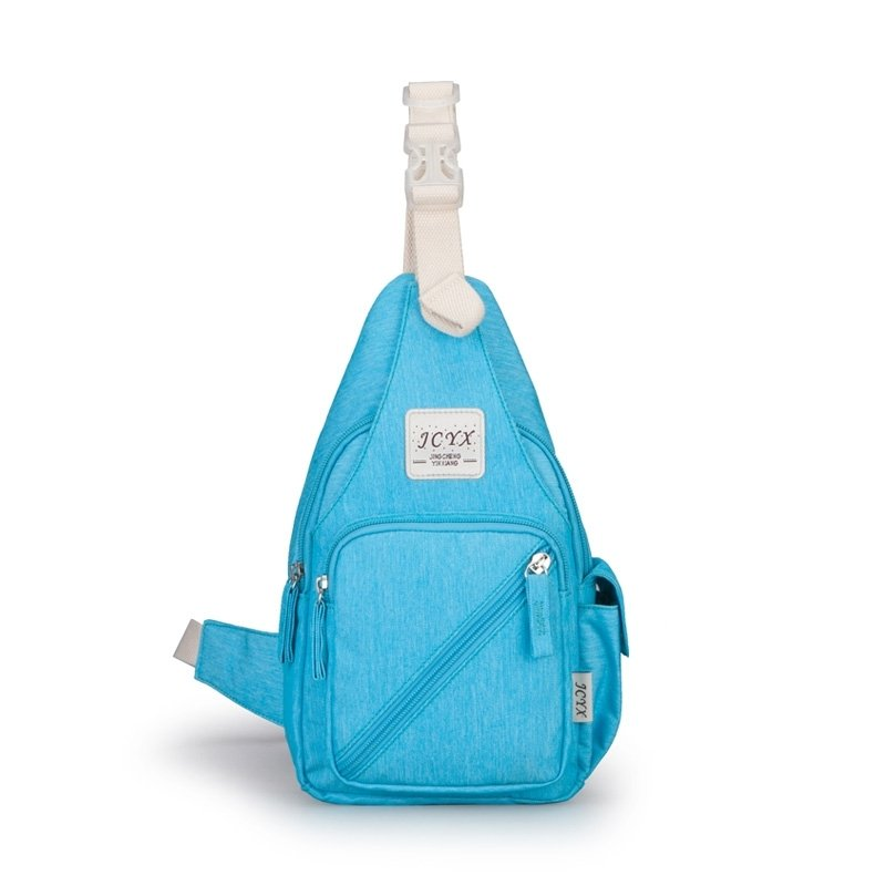Stylish Solid Sky Blue Oxford Girls Small Crossbody Shoulder Chest Bag Durable Sewing Pattern Casual Travel Hiking Cycling Sling Backpack