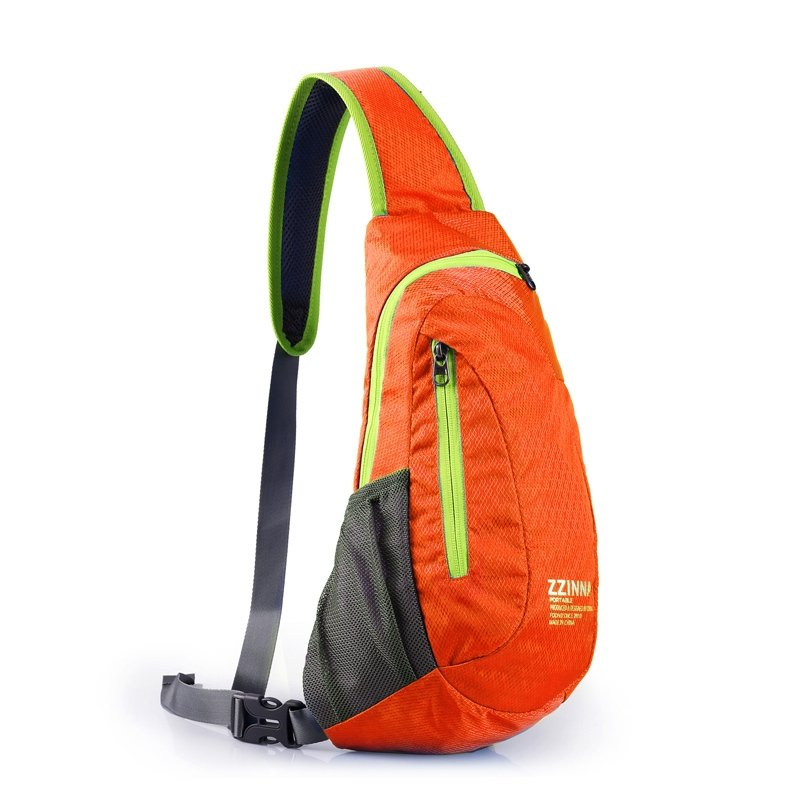 Flame Orange Polyester with Green Trim Crossbody Shoulder Chest Bag Hipster Mesh Boys Small Casual Travel Hiking Sling Backpack