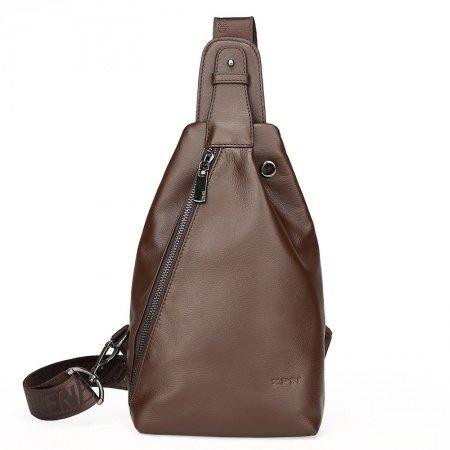 Brown Distressed Cowhide Leather Masculine Men Crossbody Shoulder Chest Bag Vintage Sewing Pattern Casual Travel Hiking Sling Backpack