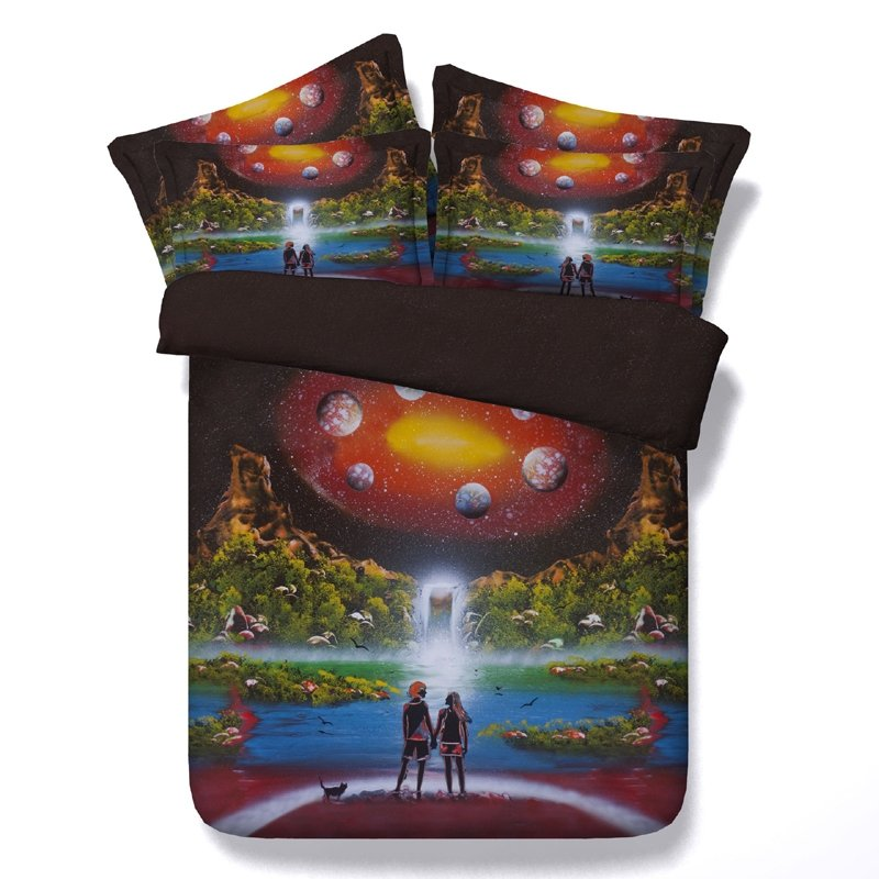 Burgundy Red Yellow Green Black and White Galaxy Nebula Tropical Flamingo Print Bright Colorful Twin, Full, Queen, King Size Bedding Sets