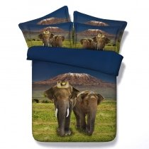 Kids Brown Green and Blue African Safari Elephant Print Jungle Animal Themed Twin, Full, Queen, King Size Bedding Sets