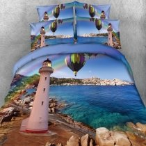 Ocean Blue Purple and Green Lighthouse, Hot Air Balloon and Rainbow Print Coastal Life Tropical Themed Twin, Full, Queen, King Size Bedding Sets