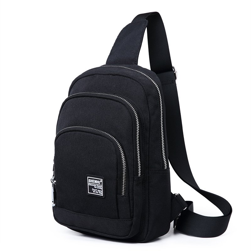 Solid Black Oxford Masculine Men Small Crossbody Shoulder Chest Bag Hipster Sewing Pattern Waterproof Casual Travel Sling Backpack