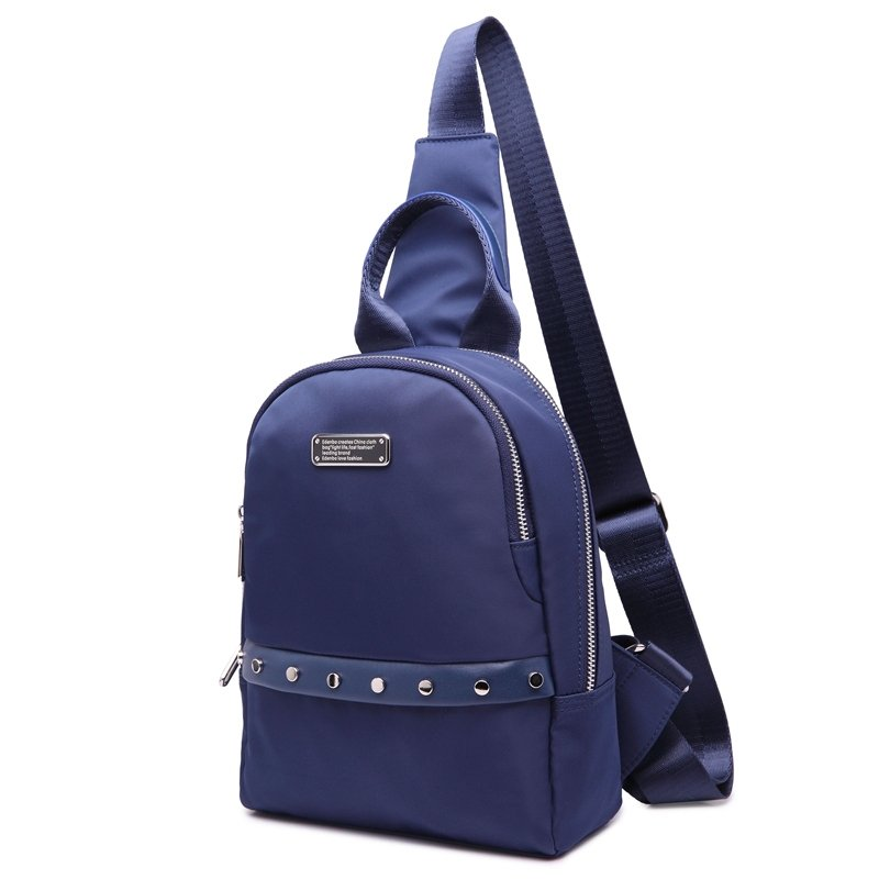 Solid Royal Blue Nylon Rivet Studded Lady Crossbody Shoulder Chest Bag Vintage Sewing Pattern Sequin Casual Travel Sling Backpack