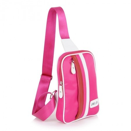 Hot Pink and White Nylon Girls Small Crossbody Shoulder Chest Bag Hipster Stripe Print Casual Travel Hiking Cycling Sling Backpack
