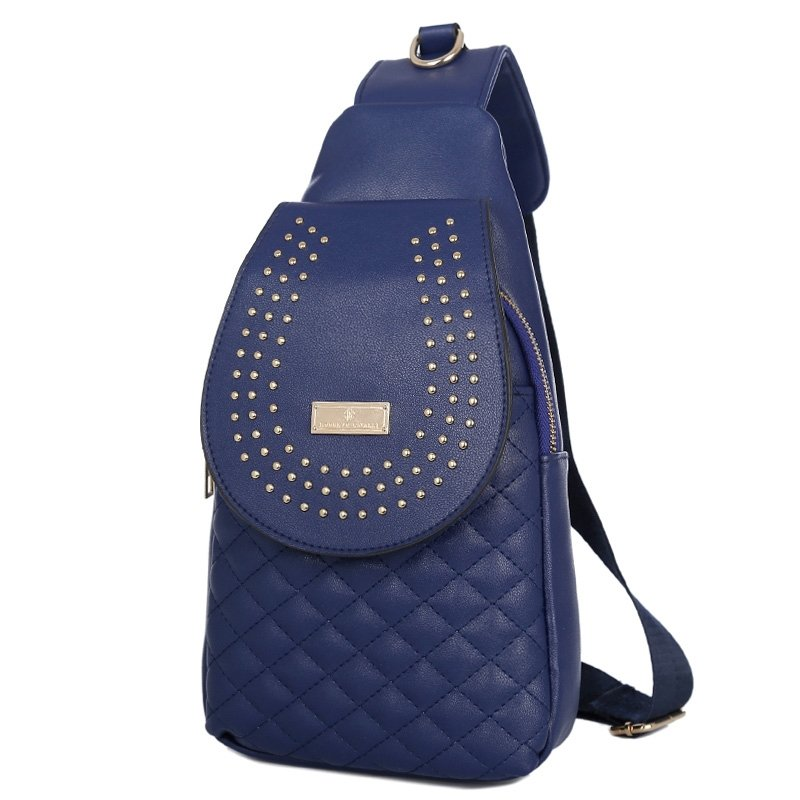 Dark Blue Faux Leather Women Quilted Small Crossbody Shoulder Chest Bag Vintage Beaded Studded Travel Hiking Cycling Flap Sling Backpack