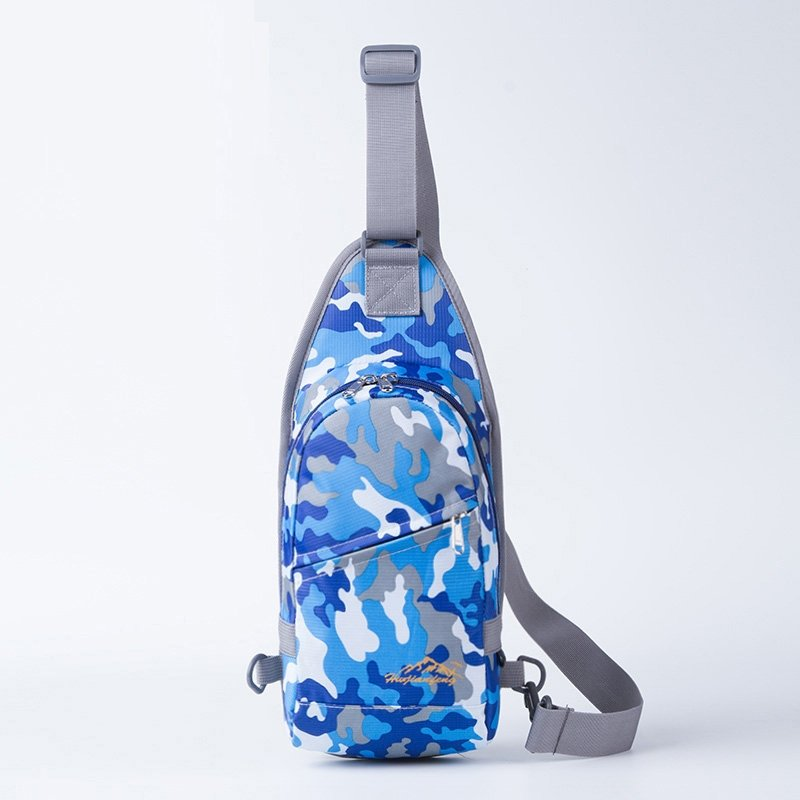Royal Blue White and Gray Nylon Men Small Crossbody Shoulder Chest Bag Military Camouflage Print Travel Hiking Cycling Sling Backpack
