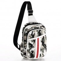 Black White and Gray Polyester Boys Small Crossbody Shoulder Chest Bag Military Camouflage Print Travel Hiking Cycling Sling Backpack