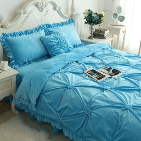 Sophisticated Elegant Solid Blue Pintuck Ruffle Romantic Feminine Quilted Flannel Twin, Full, Queen Size Bedding Sets