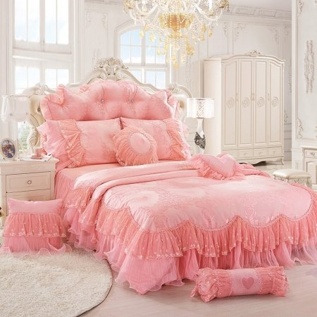 Blush Pink Victorian Lace Ruffle Sophisticated Elegant Romantic Girls Full, Queen Size Bedding Sets