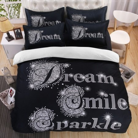 Sparkle Black and White Monogrammed Polka Dot Print Simply Modern Chic Personalized Reversible Full, Queen Size Bedding Sets