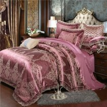 Tuscan Red and Gold Gothic Pattern Luxury Royal Style Western Themed Jacquard Satin Full, Queen Size Bedding Sets