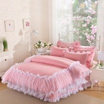 Noble Excellence Coral Pink and White Pom Pom Style Victorian Lace Ruffle Girls Twin, Full, Queen Size Bedding Sets