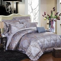 Silver and Gray Antique Damask Pattern Shabby Chic Full, Queen Size Bedding Sets