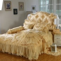 Victorian Lace Design Gold Colored Sophisticated Elegant Beautiful Ruffle Girls Twin, Full, Queen Size Bedding Sets