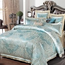 Metallic Gold and Pale Blue Exotic Indian Bohemian Pattern Shabby Chic Western Style Unique Full, Queen Size Bedding Sets