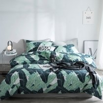 Dark Green Turquoise and White Leaf Print Rustic Chic Shabby Chic Hipster Tropical Hawaiian Twin, Full, Queen Size Bedding Sets