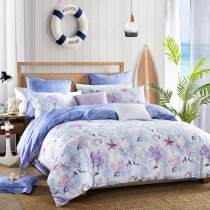 Blue Purple and White Seashell, Starfish and Coral Reef Print Under the Sea World Ocean Themed Full, Queen Size Bedding Sets