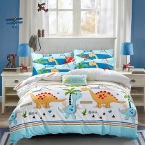 Kids Light Blue Red Orange and Green Cute Dinosaur and Palm Tree Print Cartoon Animal Twin, Full, Queen Size Bedding Sets