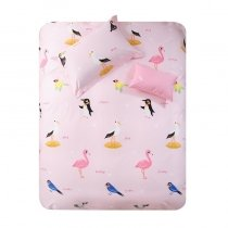 Beautiful Blush Pink Blue Yellow Black and White Bird Print Pastel Style Animal Themed Twin, Full, Queen Size Bedding Sets
