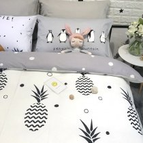 Hipster Gray Black and White Pineapple Print Preppy Style Unique Twin, Full Size Bedding Sets for Boys