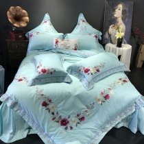 Luxurious Villa Tiffany Blue Embroidered Floral French Country Chic Satin Full, Queen Size Bedding Sets