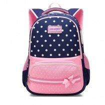 Dark Blue White and Pink Polyester Bow Girls Pupil School Book Bag Elegant Polka Dot Print Preppy Campus Backpack