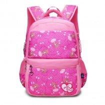 Hot Pink White and Khaki Polyester Elegant Girls Pupil School Book Bag Polka Dot Bow Heart Print Preppy Campus Backpack