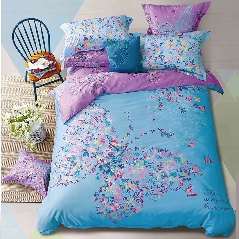 pastel beautiful blue pink teal yellow and lavender purple butterfly and floral print elegant. Black Bedroom Furniture Sets. Home Design Ideas
